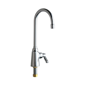 Chicago Faucets - 350-ABCP - Single Hole, Single Control Bar Faucet with Gooseneck Rigid/Swing Spout and Solid Brass Body