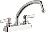 "Chicago Faucets W4D-L9E1-369AB - 4"" Deck Mount Washboard Sink Faucet"