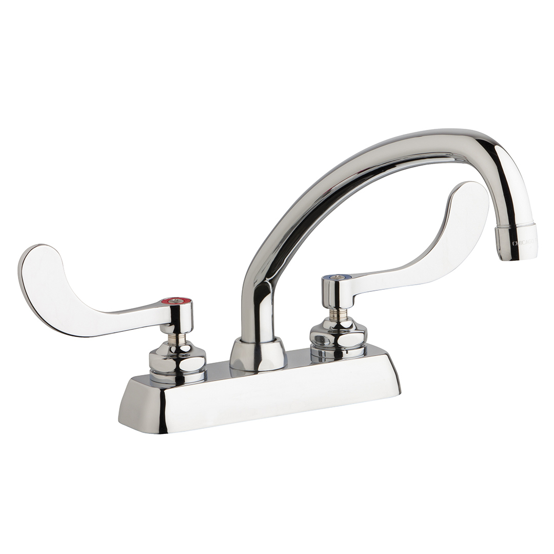 "Chicago Faucets W4D-L9E35-317ABCP - 4"" Deck Mount Washboard Sink Faucet"