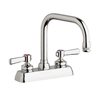 "Chicago Faucets W4D-DB6AE1-369ABCP - 4"" Deck Mount Washboard Sink Faucet"
