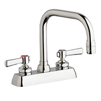 "Chicago Faucets W4D-DB6AE35-369AB - 4"" Deck Mount Washboard Sink Faucet"