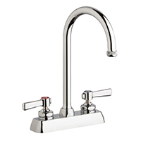 "Chicago Faucets W4D-GN2AE1-369ABCP - 4"" Deck Mount Washboard Sink Faucet"