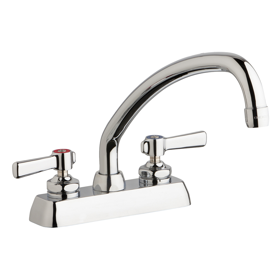"Chicago Faucets W4D-L9E35-369AB - 4"" Deck Mount Washboard Sink Faucet"