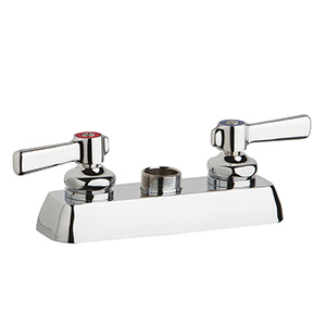 Chicago Faucets W4D-LES369AB - 4-inch Center Deck Mount Hot and Cold Water Workboard Sink Faucet, Less Spout