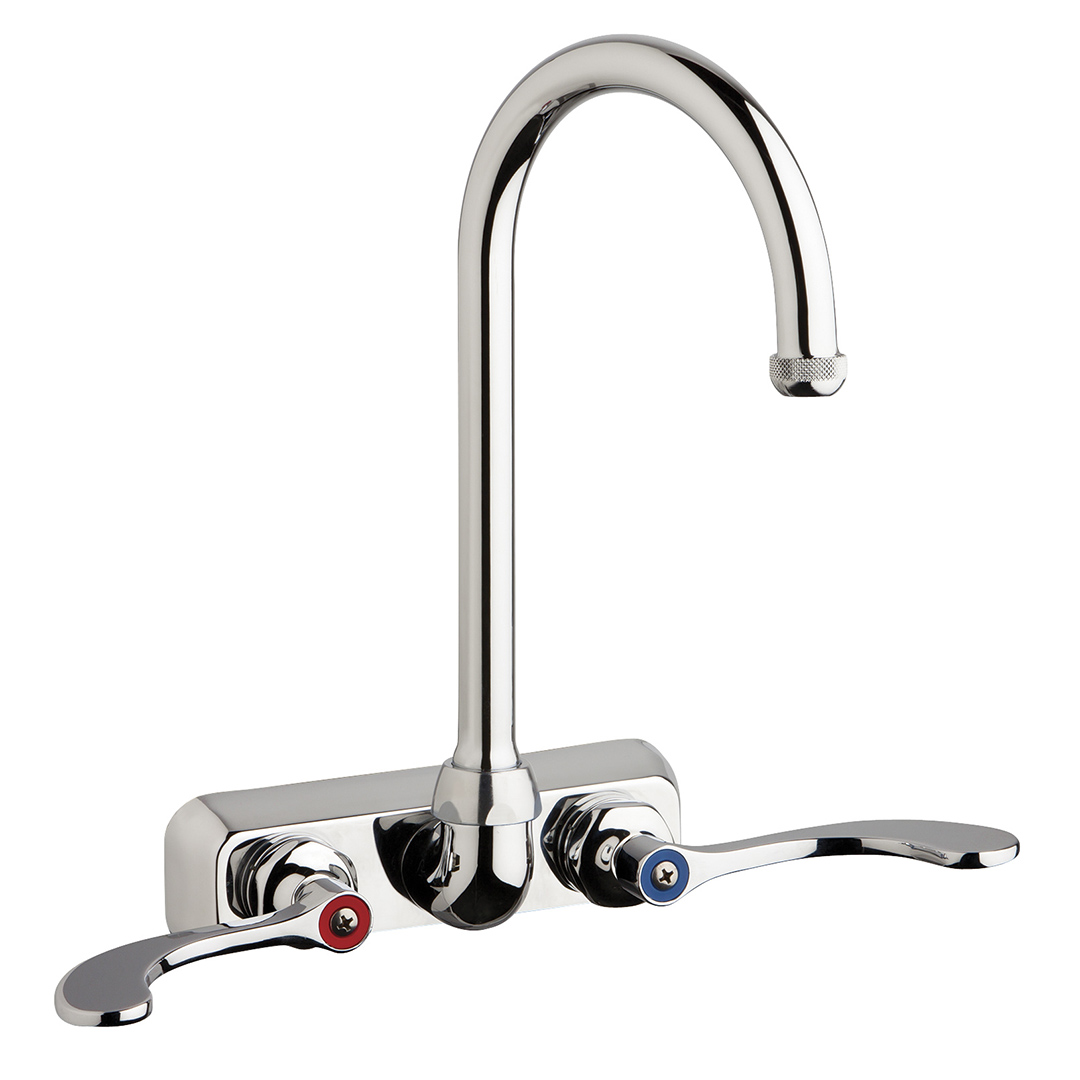 "Chicago Faucets W4W-GN2AE1-317ABCP - 4"" Wall Mount Washboard Sink Faucet"
