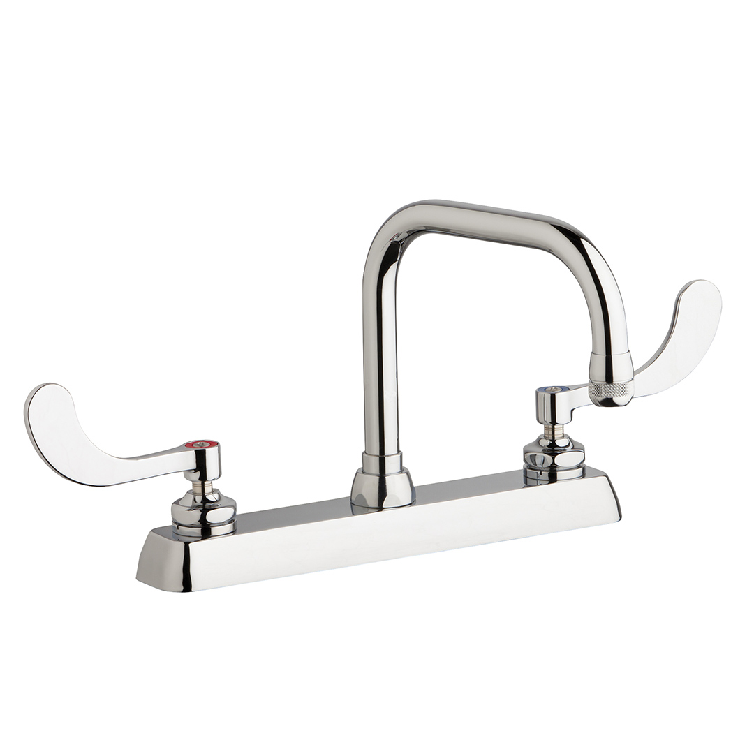 "Chicago Faucets W8D-DB6AE1-317ABCP - 8"" Deck Mount Washboard Sink Faucet"