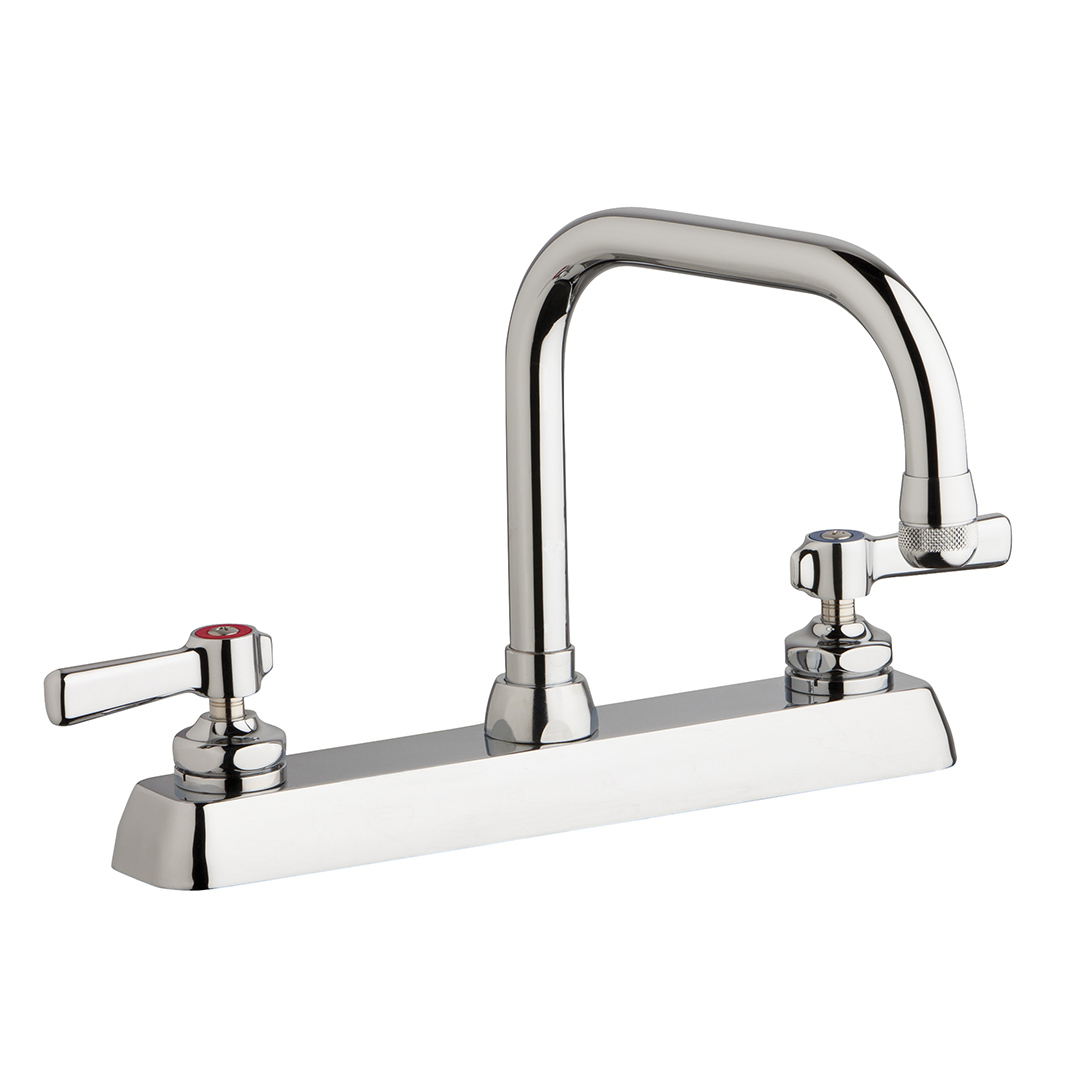 "Chicago Faucets W8D-DB6AE1-369ABCP - 8"" Deck Mount Washboard Sink Faucet"