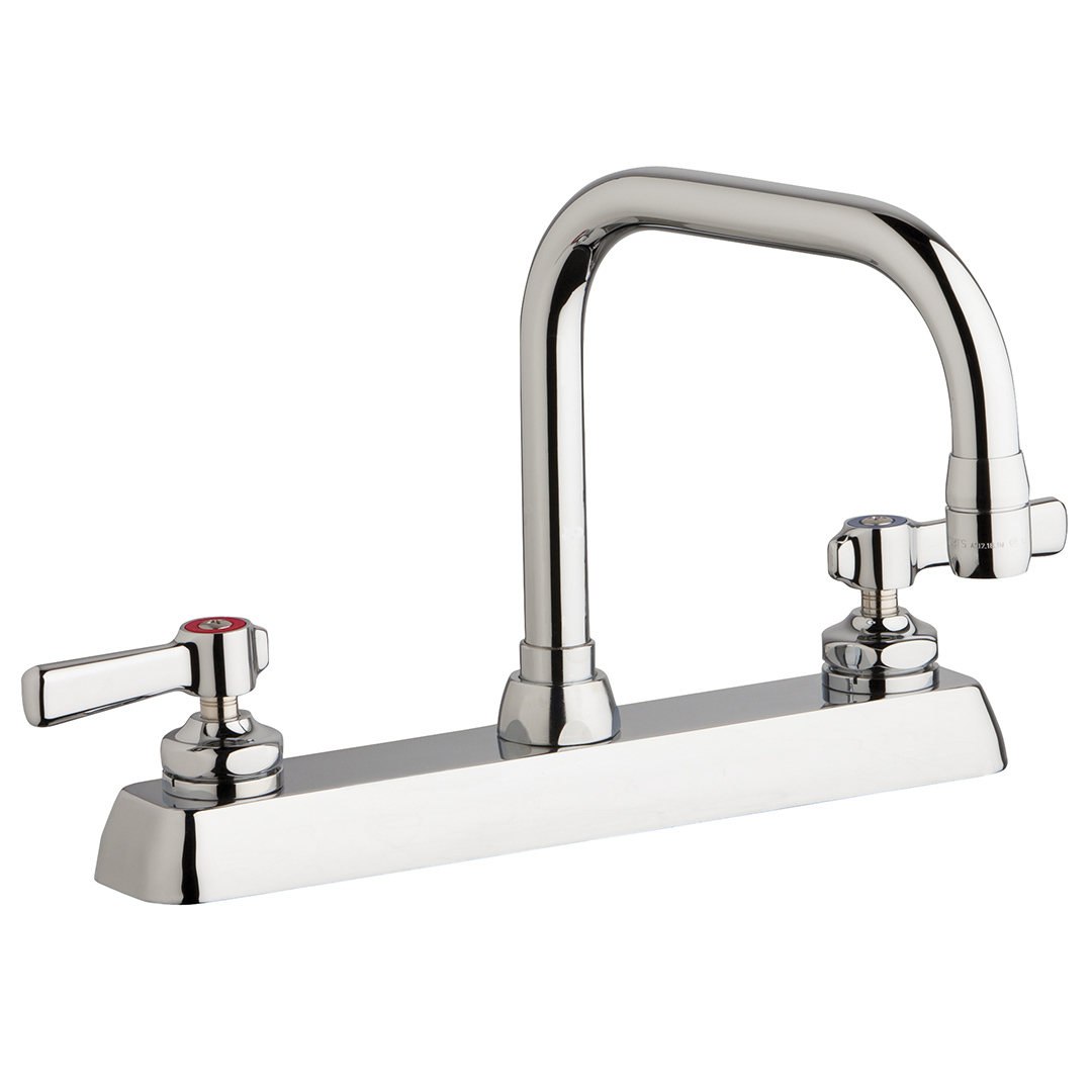 "Chicago Faucets W8D-DB6AE35-369AB - 8"" Deck Mount Washboard Sink Faucet"