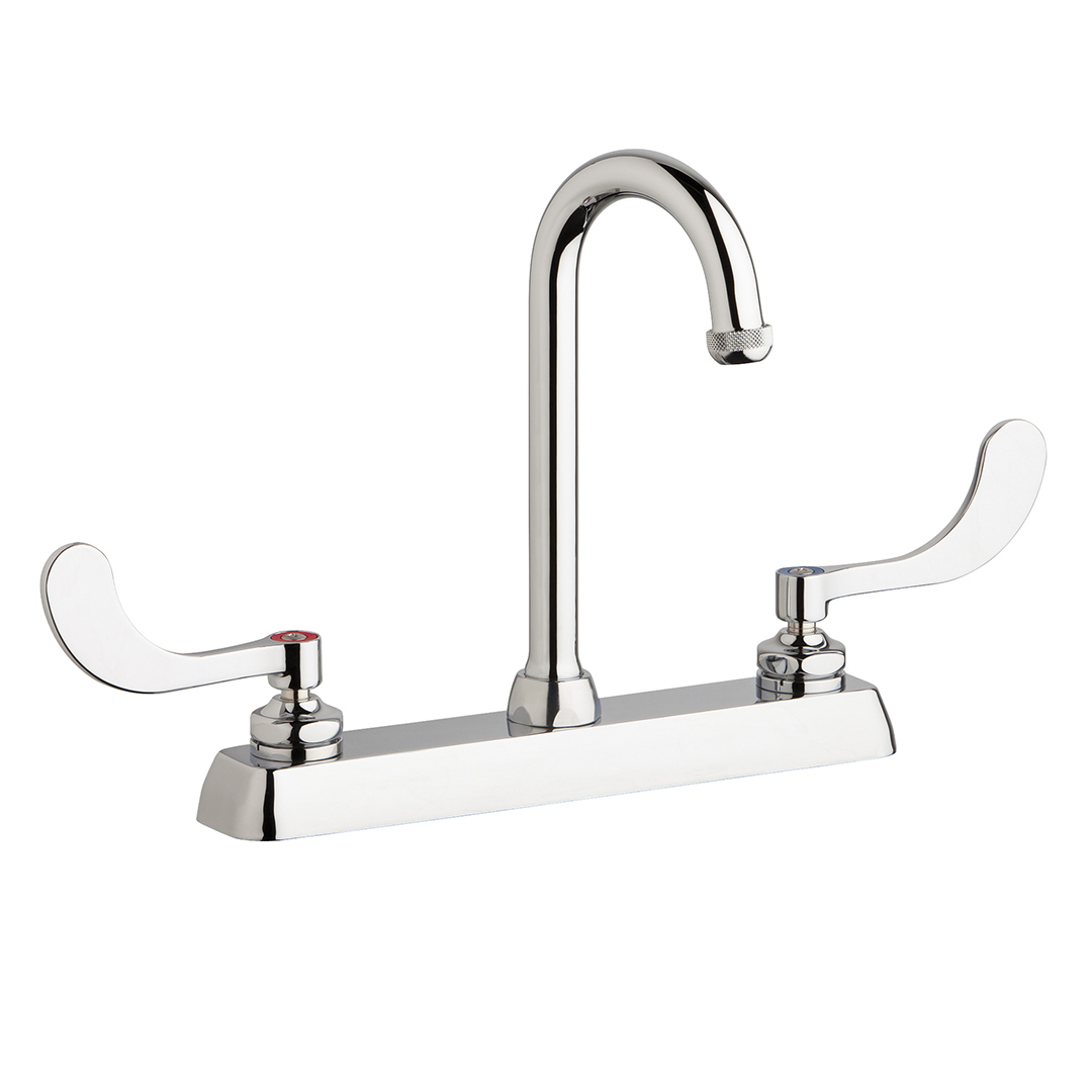 "Chicago Faucets W8D-GN1AE1-317ABCP - 8"" Deck Mount Washboard Sink Faucet"