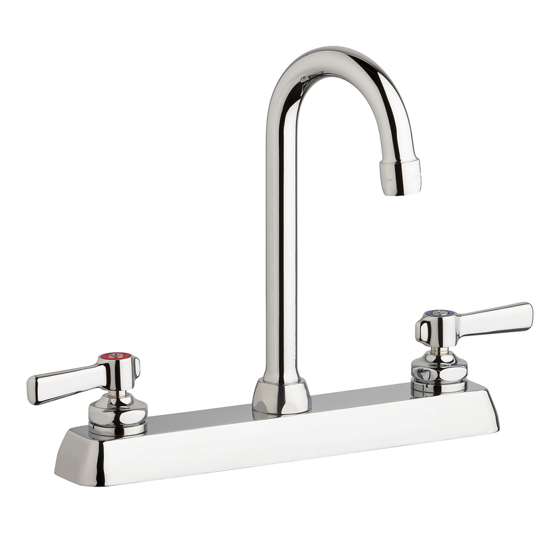 "Chicago Faucets W8D-GN1AE35-369AB - 8"" Deck Mount Washboard Sink Faucet"