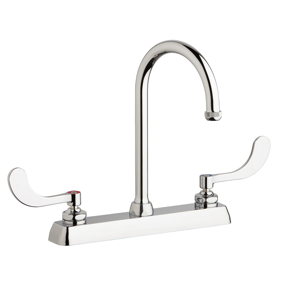 "Chicago Faucets W8D-GN2AE1-317ABCP - 8"" Deck Mount Washboard Sink Faucet"