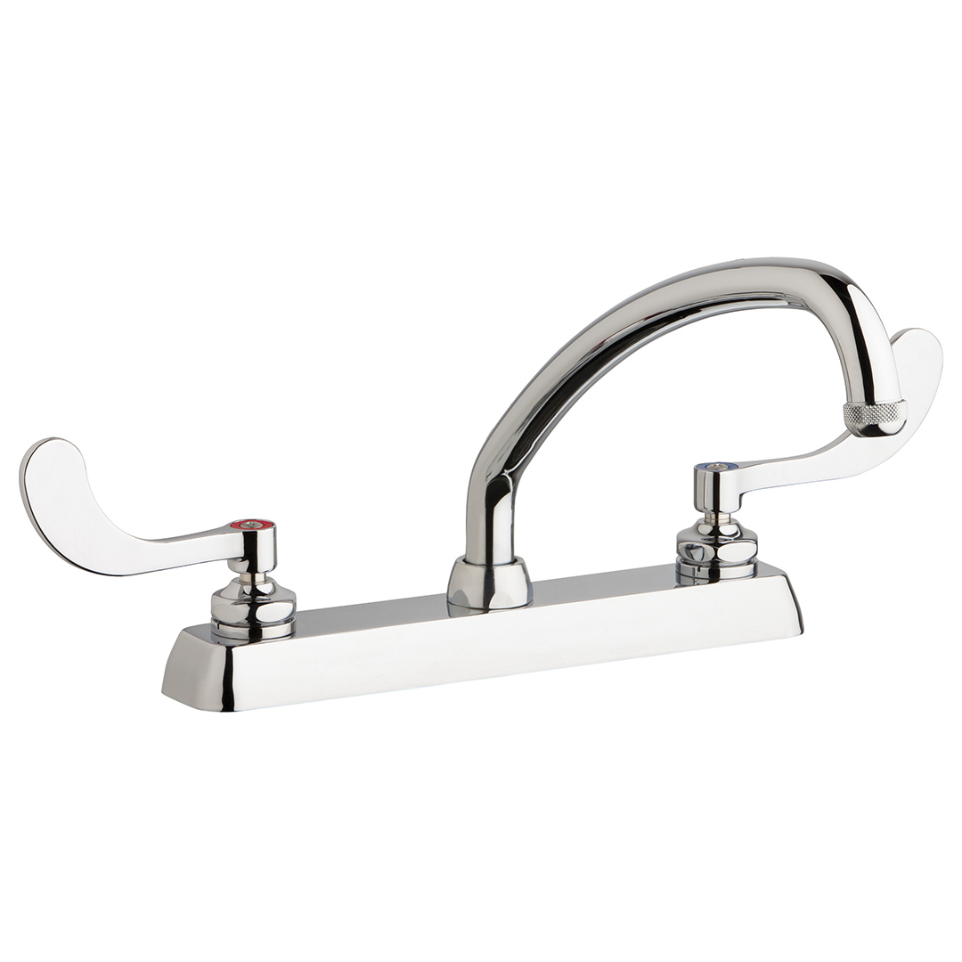 "Chicago Faucets W8D-L9E1-317ABCP - 8"" Deck Mount Washboard Sink Faucet"