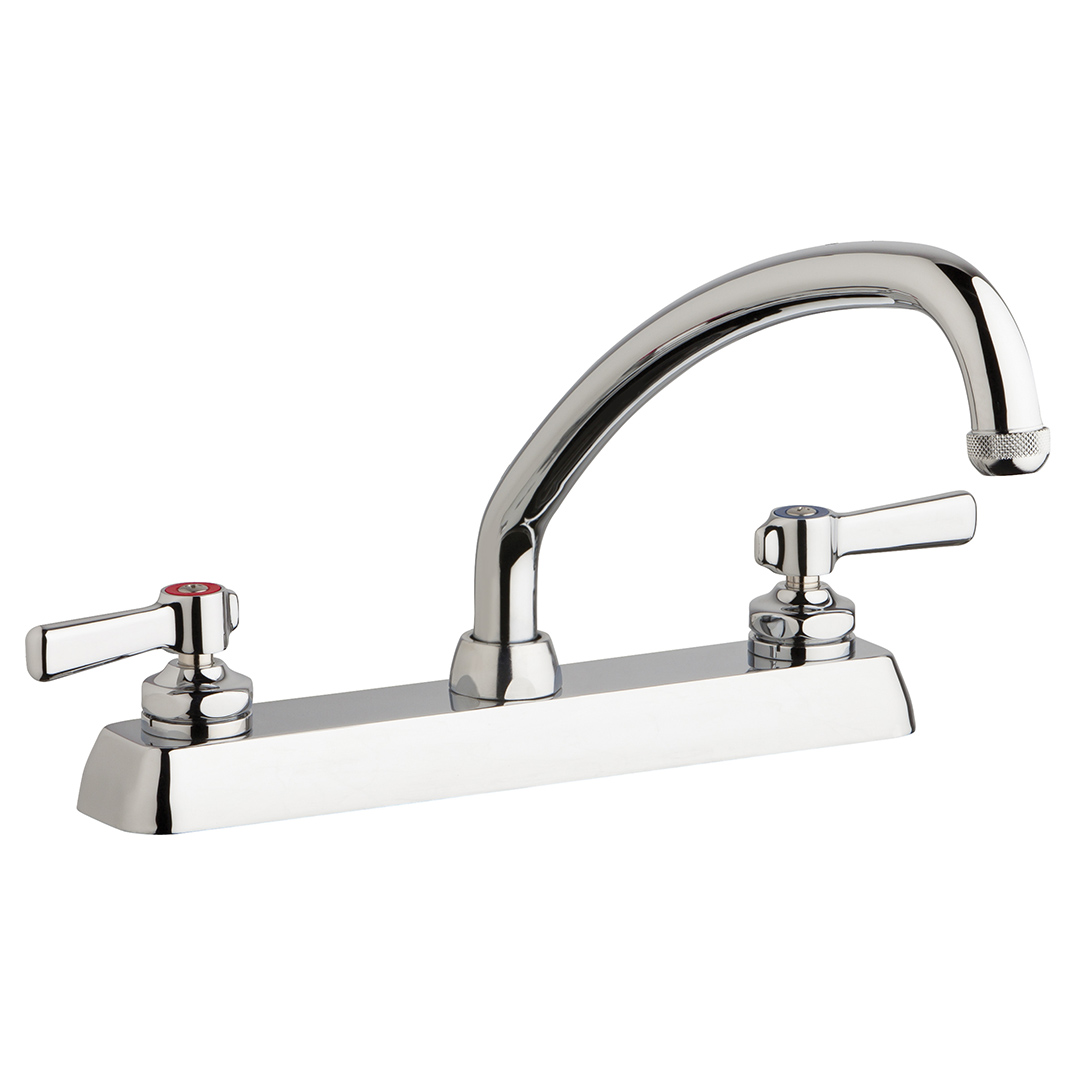 "Chicago Faucets W8D-L9E1-369ABCP - 8"" Deck Mount Washboard Sink Faucet"