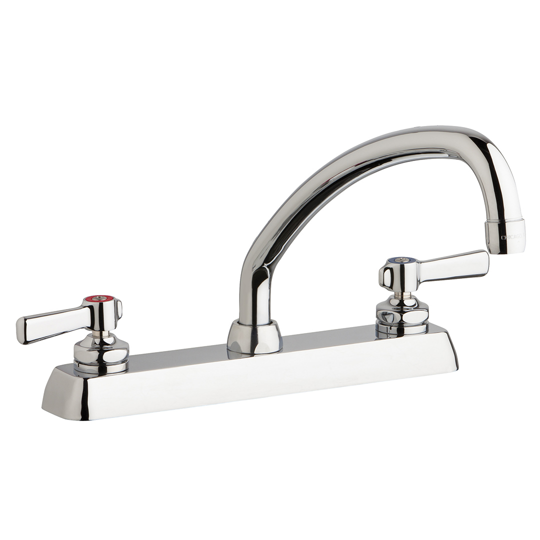 "Chicago Faucets W8D-L9E35-369ABCP - 8"" Deck Mount Washboard Sink Faucet"