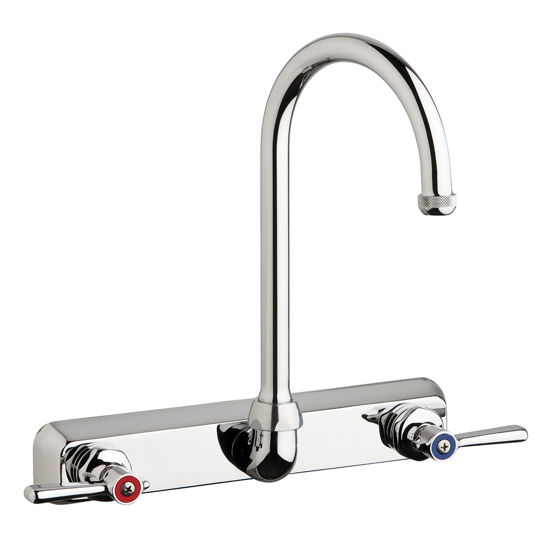 "Chicago Faucets W8W-GN2AE1-369ABCP - 8"" Wall Mount Washboard Sink Faucet"