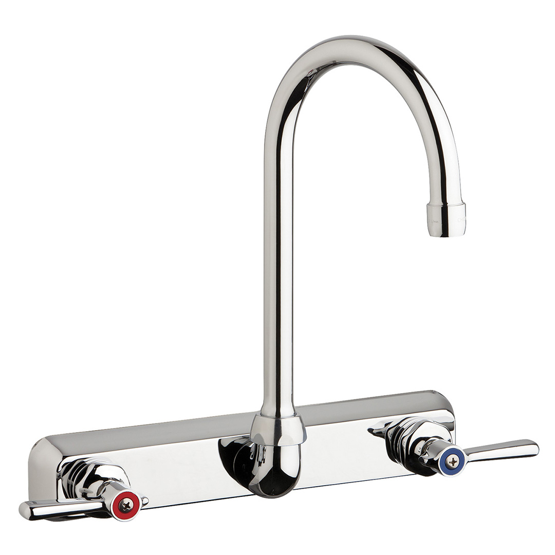 "Chicago Faucets W8W-GN2AE35-369AB - 8"" Wall Mount Washboard Sink Faucet"